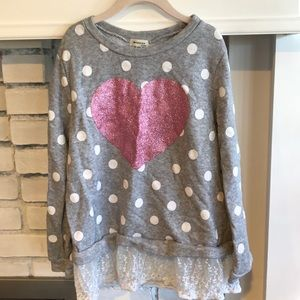 Girls Sweatshirt with Heart and Lace Trim